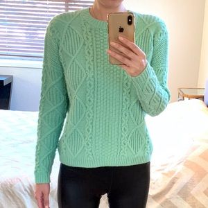 Topshop light green cable Knit Sweater